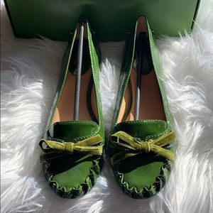 🆕 Kate Spade Lacey Loafers Green Patent 8